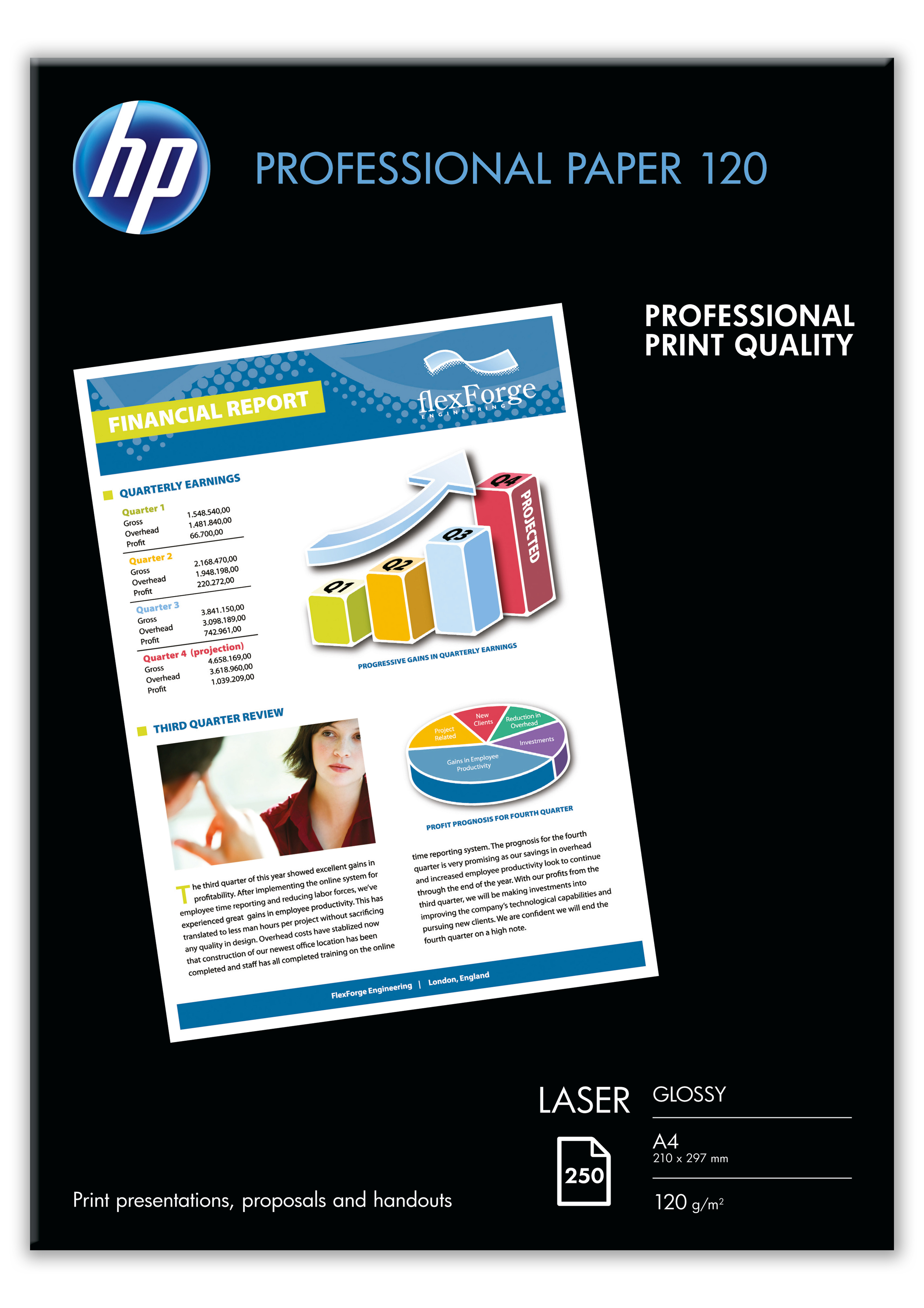 Cg964a Hp A4 Proffessional Glossy Laser Paper 120g 250